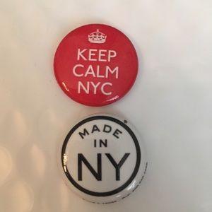 "New York City pins 1"" collectible set 2 fun gift"